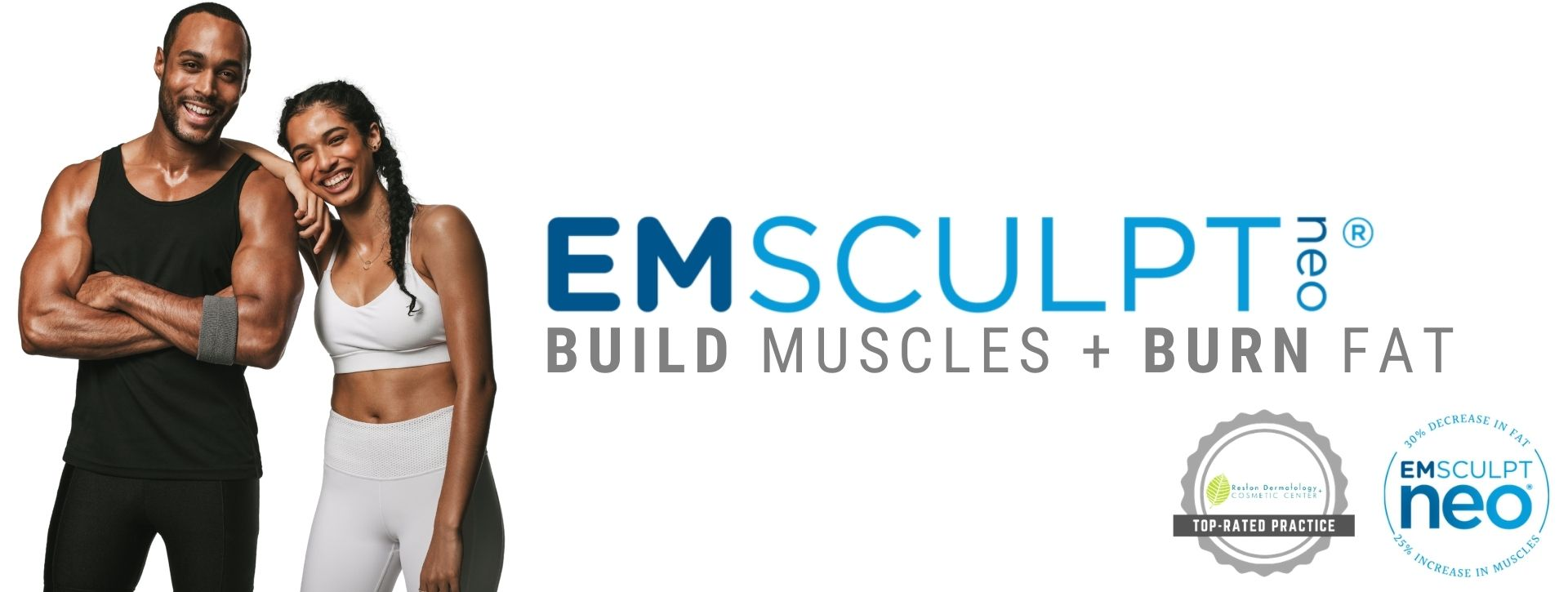 Portrait of two fit couple smiling promoting Emsculpt NEO treatment in Reston